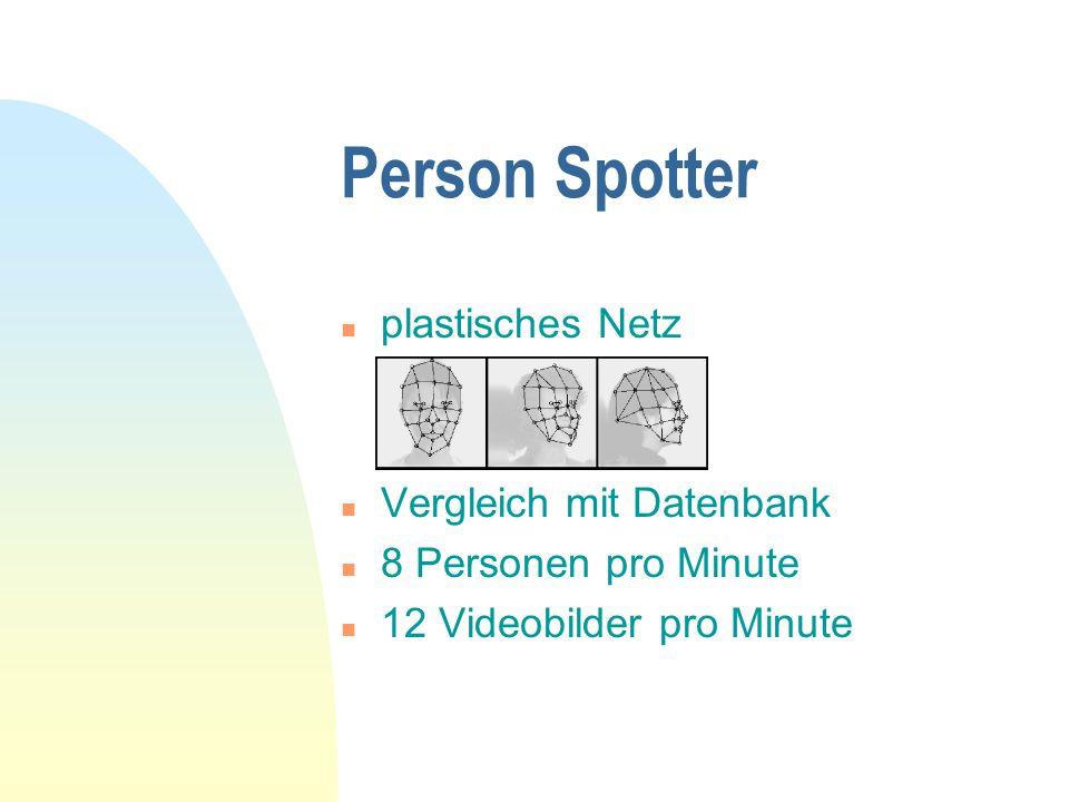 n plastisches Netz n Vergleich mit Datenbank n 8 Personen pro Minute n 12 Videobilder pro Minute Person Spotter