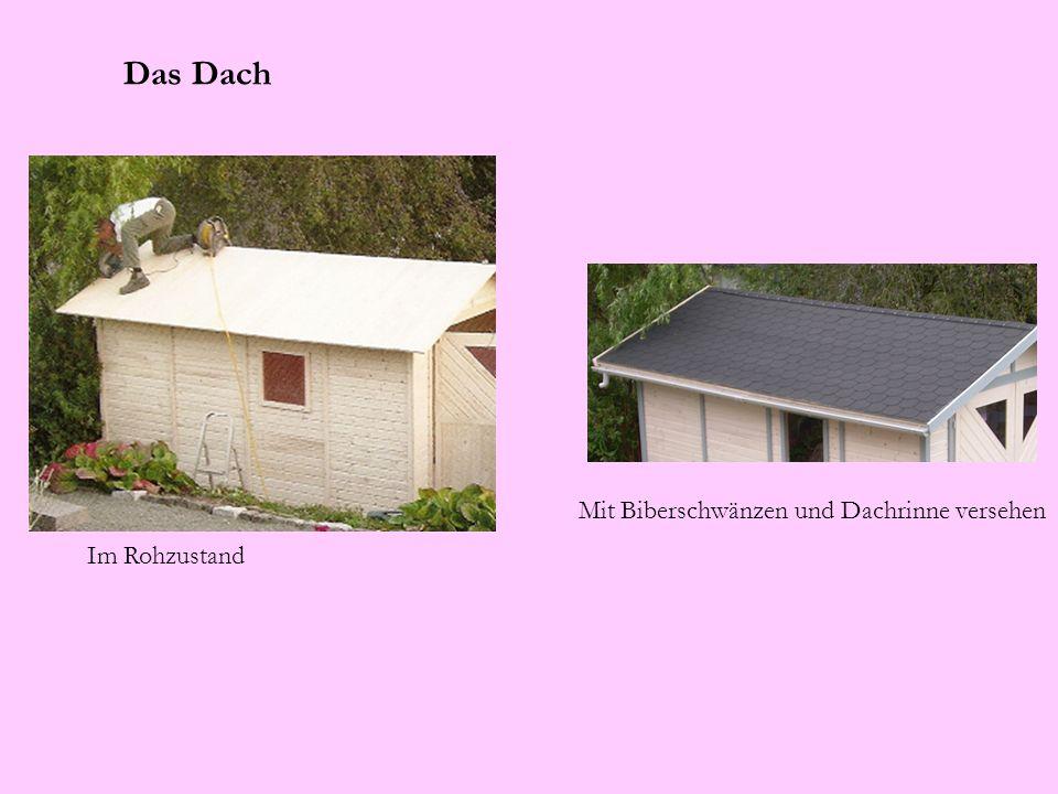 Das Dach Im Rohzustand Mit Biberschwänzen und Dachrinne versehen