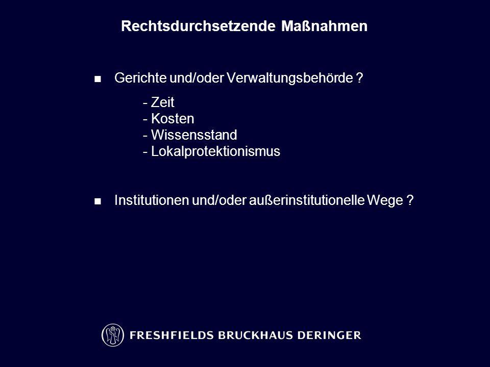 Rechtsdurchsetzende Maßnahmen Gerichte und/oder Verwaltungsbehörde .
