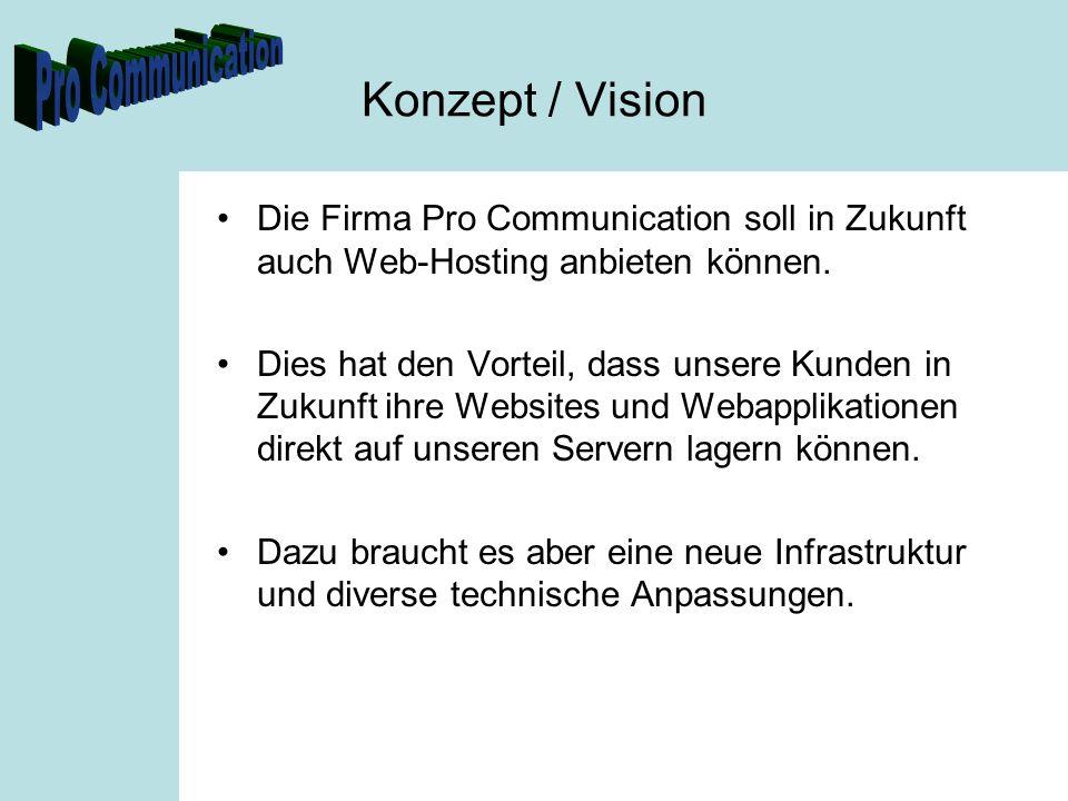 Konzept / Vision Die Firma Pro Communication soll in Zukunft auch Web-Hosting anbieten können. Dies hat den Vorteil, dass unsere Kunden in Zukunft ihr