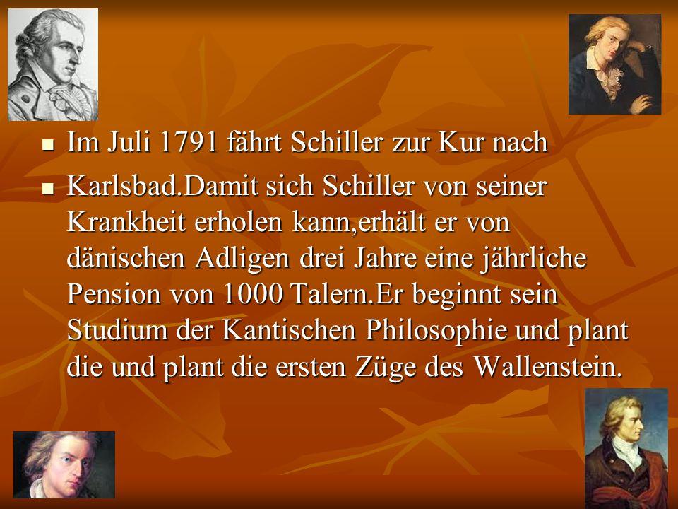 1782 Die Räuber werden in Mannheim mit überwältigendem Erfolg aufgeführt.Schiller wohnt der Urauff ϋ hrung,trotz unerlaubten Fernbleiben von der Akademie bei.Wegen einer zweiten unerlaubten Reise nach Mannheim wird Schiller zu 14 Tagen Haft verurteilt und der Herzog verbietet Schiller jedwede dichterische Betätigung.