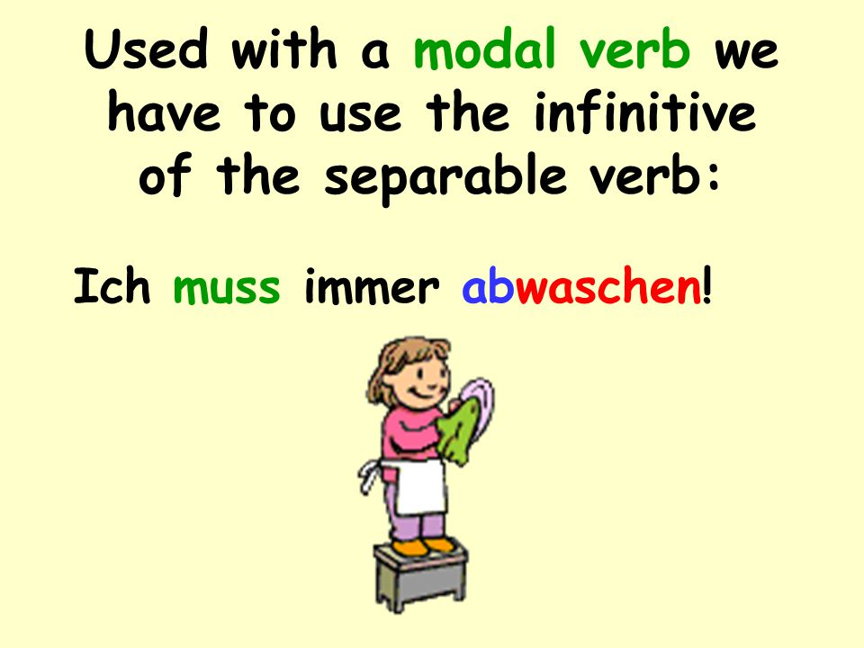 Used with a modal verb we have to use the infinitive of the separable verb: Ich muss immer abwaschen!