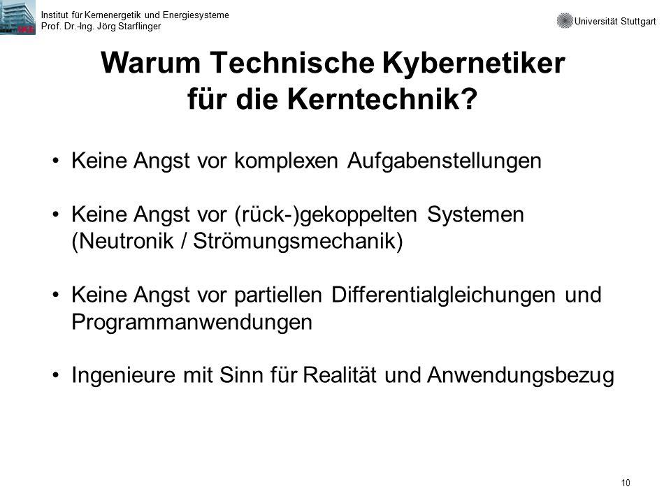 Universität Stuttgart Institut für Kernenergetik und Energiesysteme Prof. Dr.-Ing. Jörg Starflinger 10 Universität Stuttgart Institut für Kernenergeti