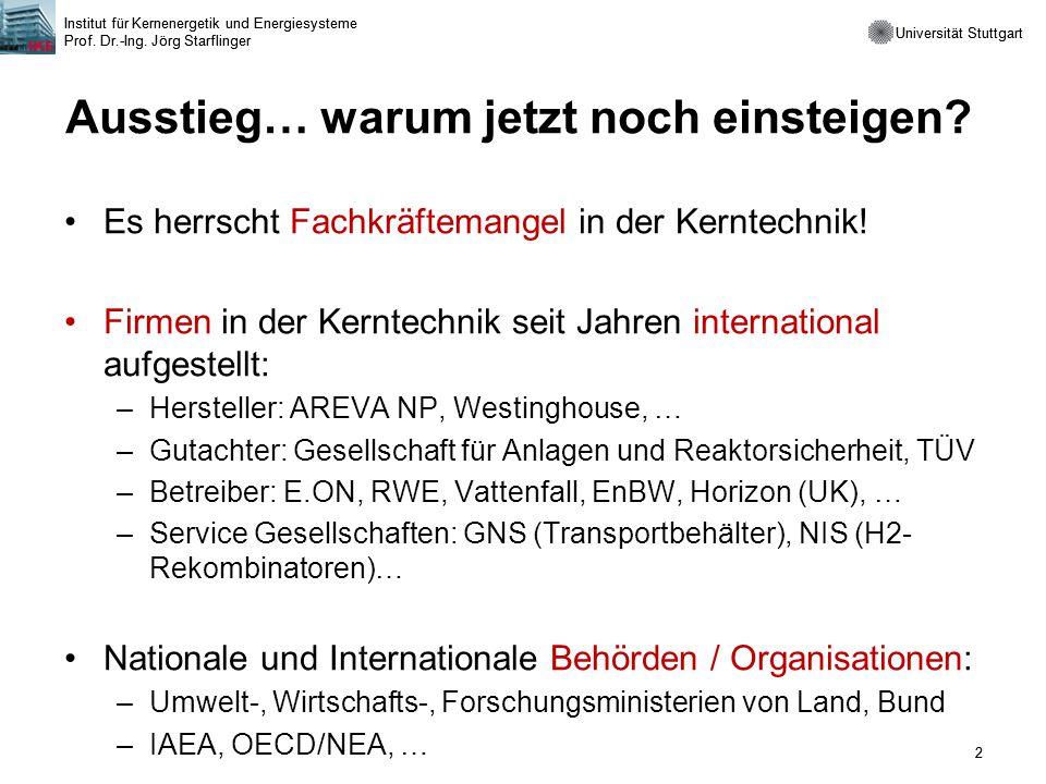 Universität Stuttgart Institut für Kernenergetik und Energiesysteme Prof. Dr.-Ing. Jörg Starflinger 2 Universität Stuttgart Institut für Kernenergetik