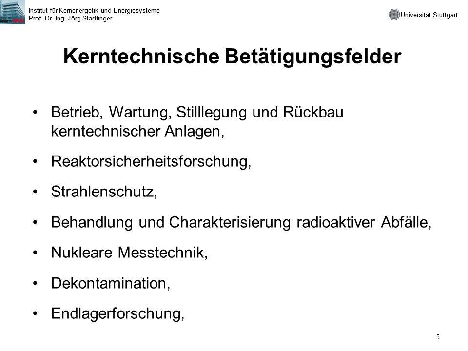Universität Stuttgart Institut für Kernenergetik und Energiesysteme Prof. Dr.-Ing. Jörg Starflinger 5 Universität Stuttgart Institut für Kernenergetik