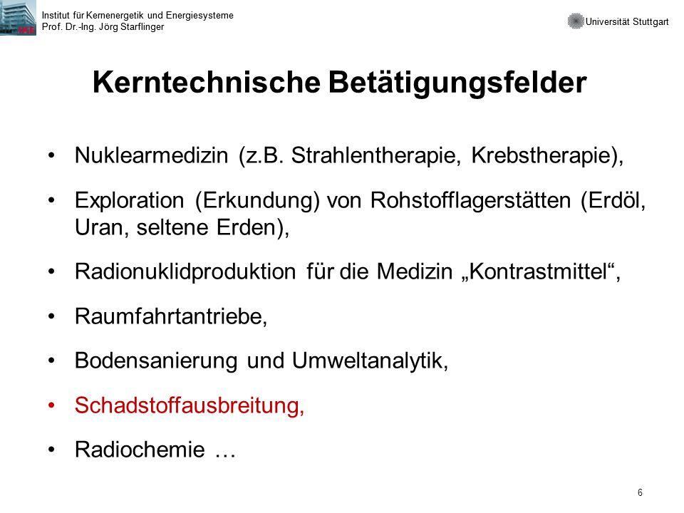 Universität Stuttgart Institut für Kernenergetik und Energiesysteme Prof. Dr.-Ing. Jörg Starflinger 6 Universität Stuttgart Institut für Kernenergetik