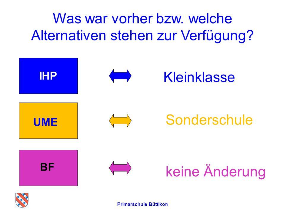 Was war vorher bzw. welche Alternativen stehen zur Verfügung? Primarschule Büttikon IHP UME IHP BF Kleinklasse Sonderschule keine Änderung
