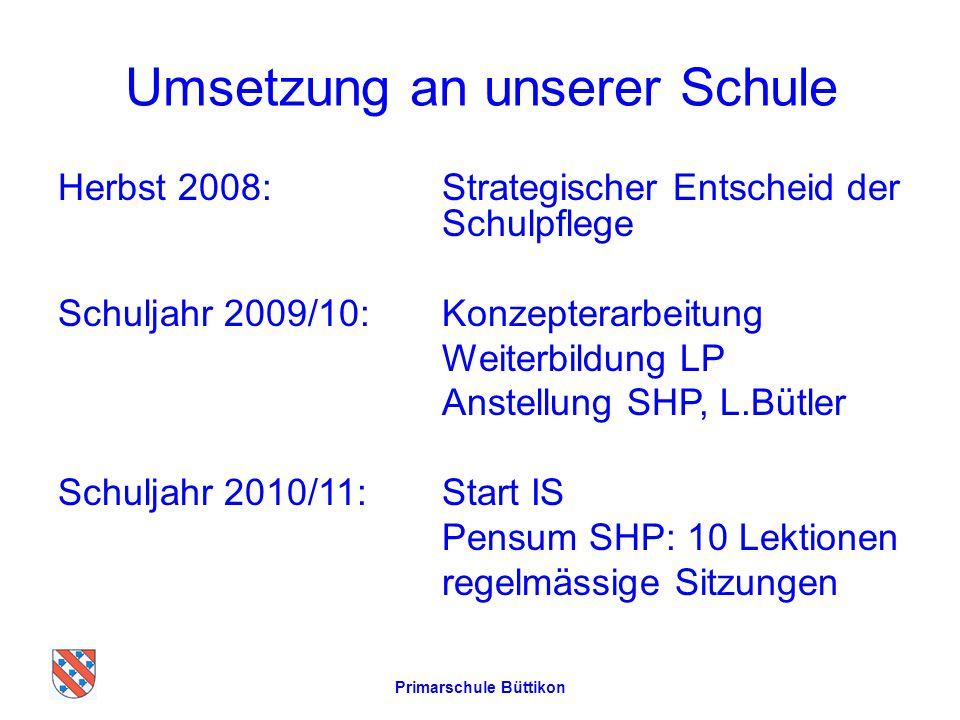 Umsetzung an unserer Schule Herbst 2008: Strategischer Entscheid der Schulpflege Schuljahr 2009/10:Konzepterarbeitung Weiterbildung LP Anstellung SHP,