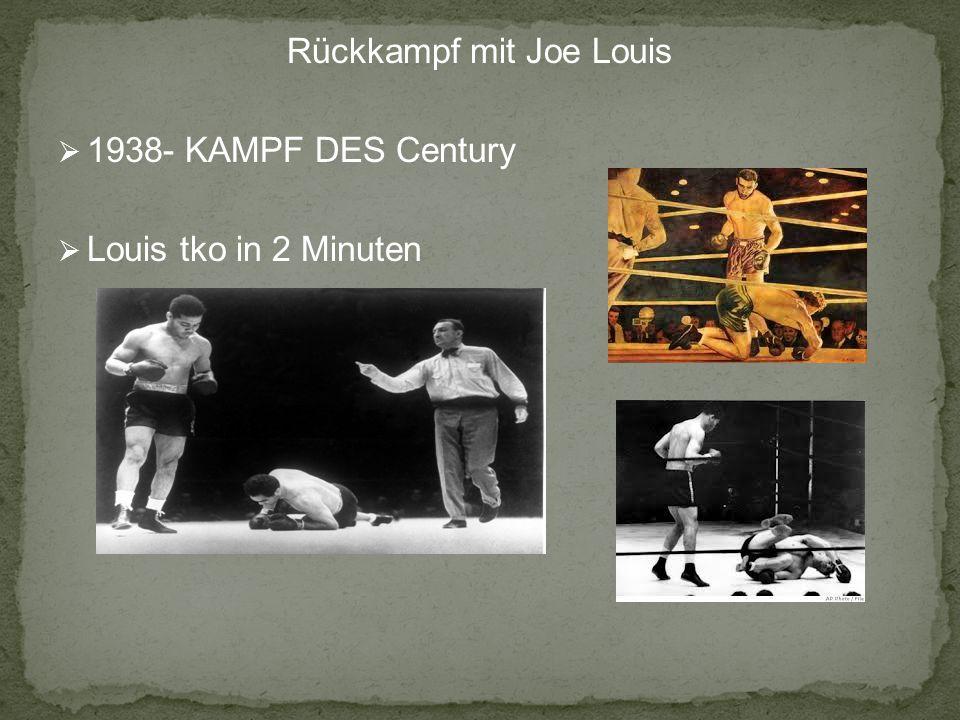 Rückkampf mit Joe Louis 1938- KAMPF DES Century Louis tko in 2 Minuten