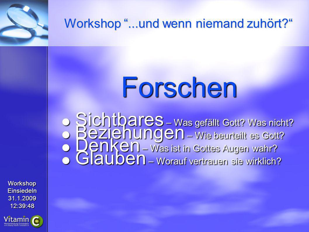 WorkshopEinsiedeln31.1.200912:39:48 Forschen Sichtbares – Was gefällt Gott.