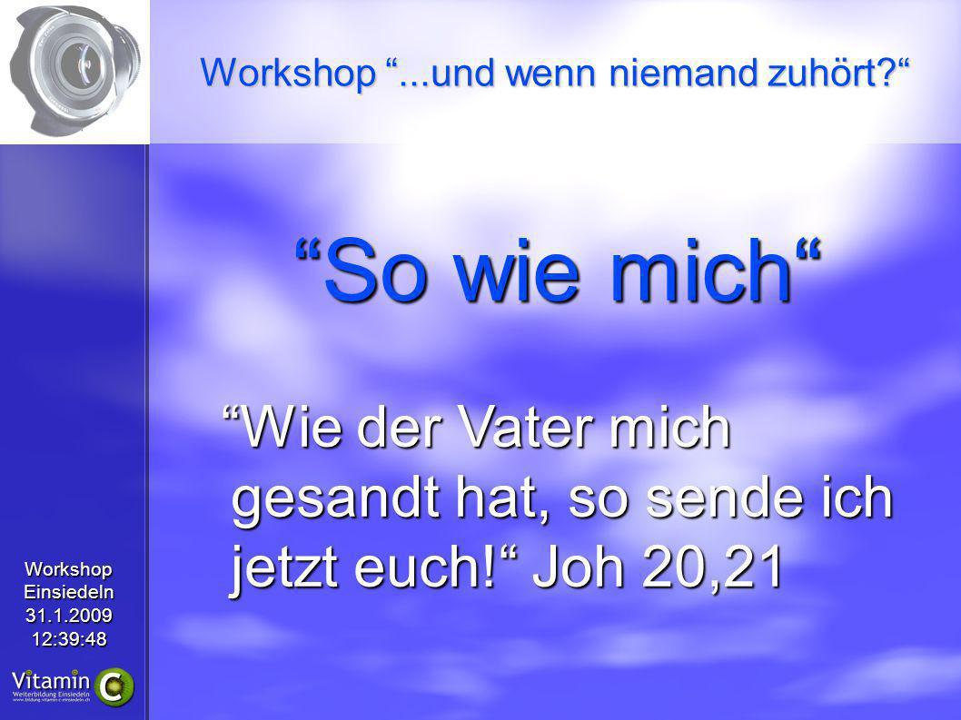 WorkshopEinsiedeln31.1.200912:39:48 So wie mich Wie der Vater mich gesandt hat, so sende ich jetzt euch! Joh 20,21 Workshop...und wenn niemand zuhört?