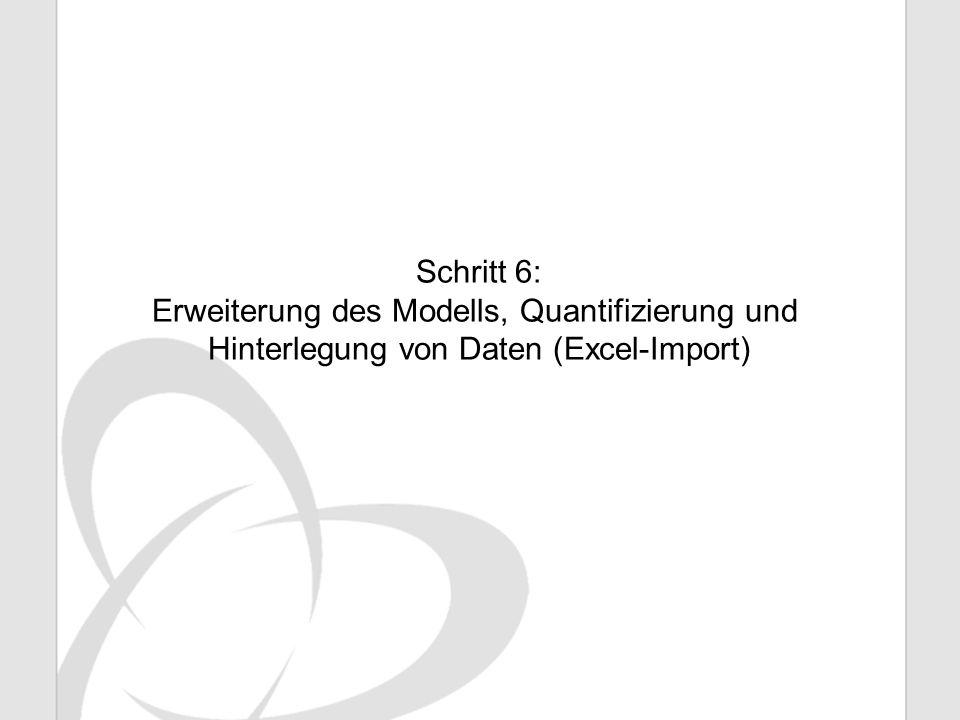 Schritt 6: Erweiterung des Modells, Quantifizierung und Hinterlegung von Daten (Excel-Import)