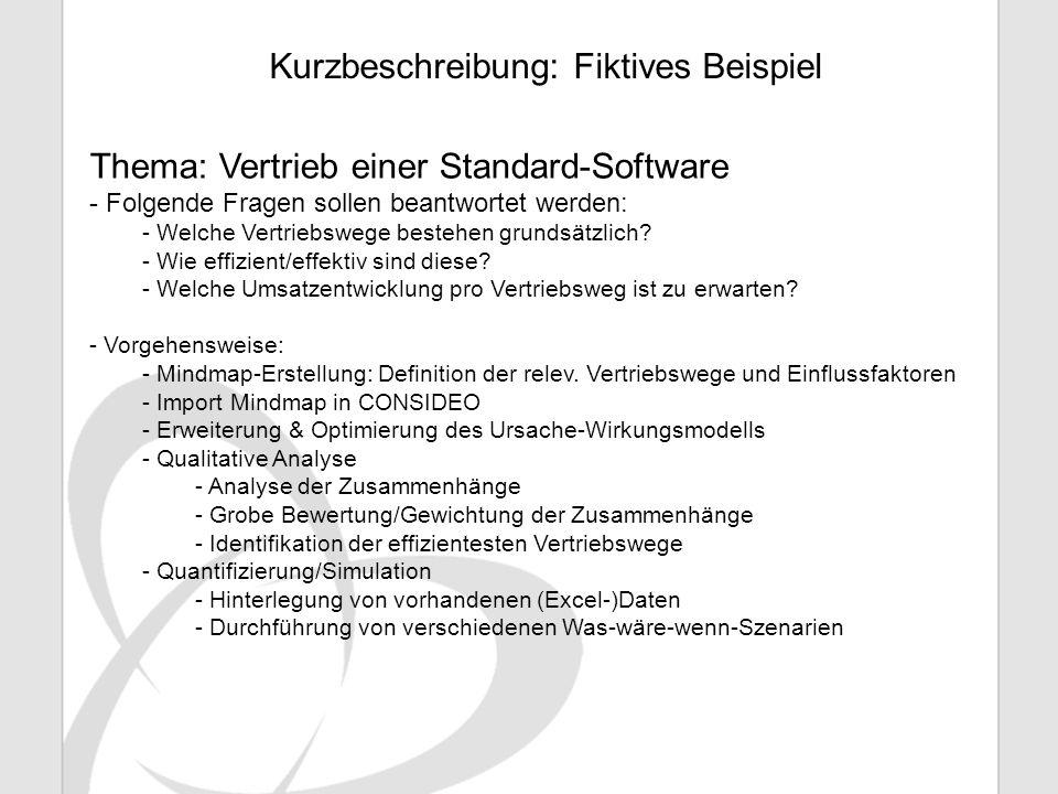 Kurzbeschreibung: Fiktives Beispiel Thema: Vertrieb einer Standard-Software - Folgende Fragen sollen beantwortet werden: - Welche Vertriebswege besteh