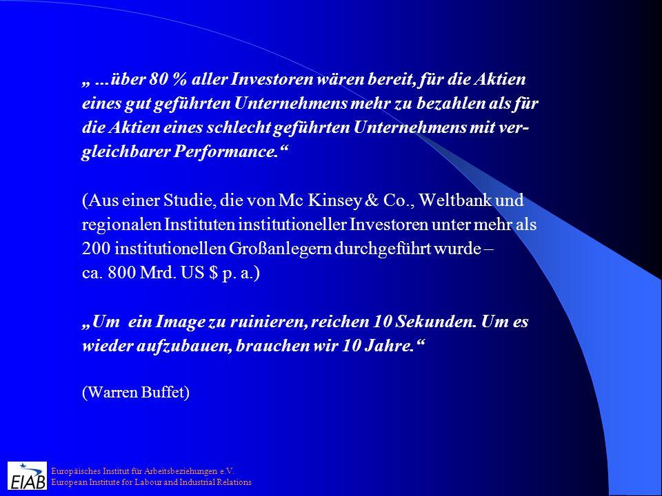 Europäisches Institut für Arbeitsbeziehungen e.V. European Institute for Labour and Industrial Relations...über 80 % aller Investoren wären bereit, fü