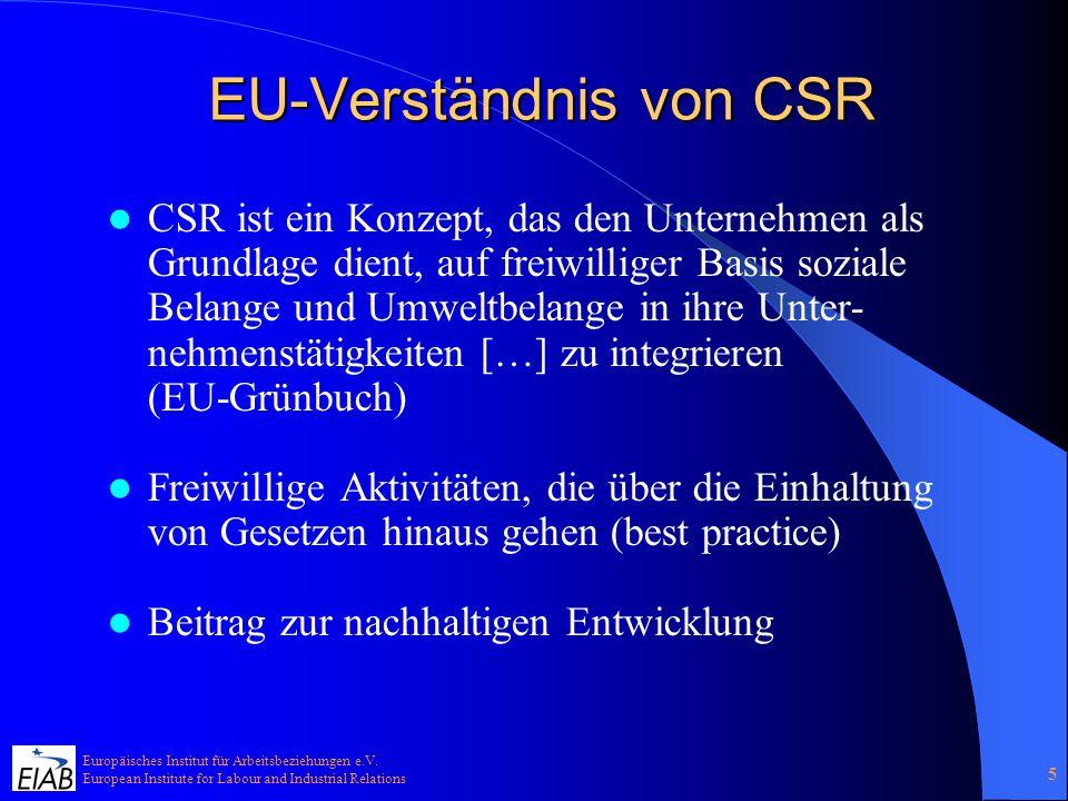 Europäisches Institut für Arbeitsbeziehungen e.V. European Institute for Labour and Industrial Relations 5 EU-Verständnis von CSR CSR ist ein Konzept,