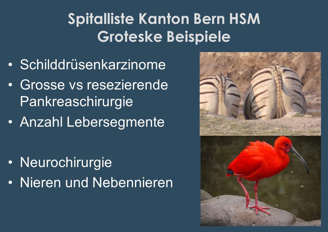 Spitalliste Kanton Bern HSM Groteske Beispiele Schilddrüsenkarzinome Grosse vs resezierende Pankreaschirurgie Anzahl Lebersegmente Neurochirurgie Nier