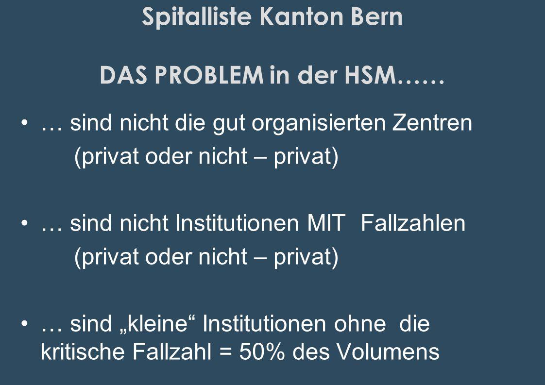 Spitalliste Kanton Bern DAS PROBLEM in der HSM…… … sind nicht die gut organisierten Zentren (privat oder nicht – privat) … sind nicht Institutionen MI