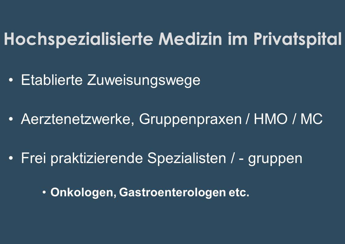 Hochspezialisierte Medizin im Privatspital Etablierte Zuweisungswege Aerztenetzwerke, Gruppenpraxen / HMO / MC Frei praktizierende Spezialisten / - gr