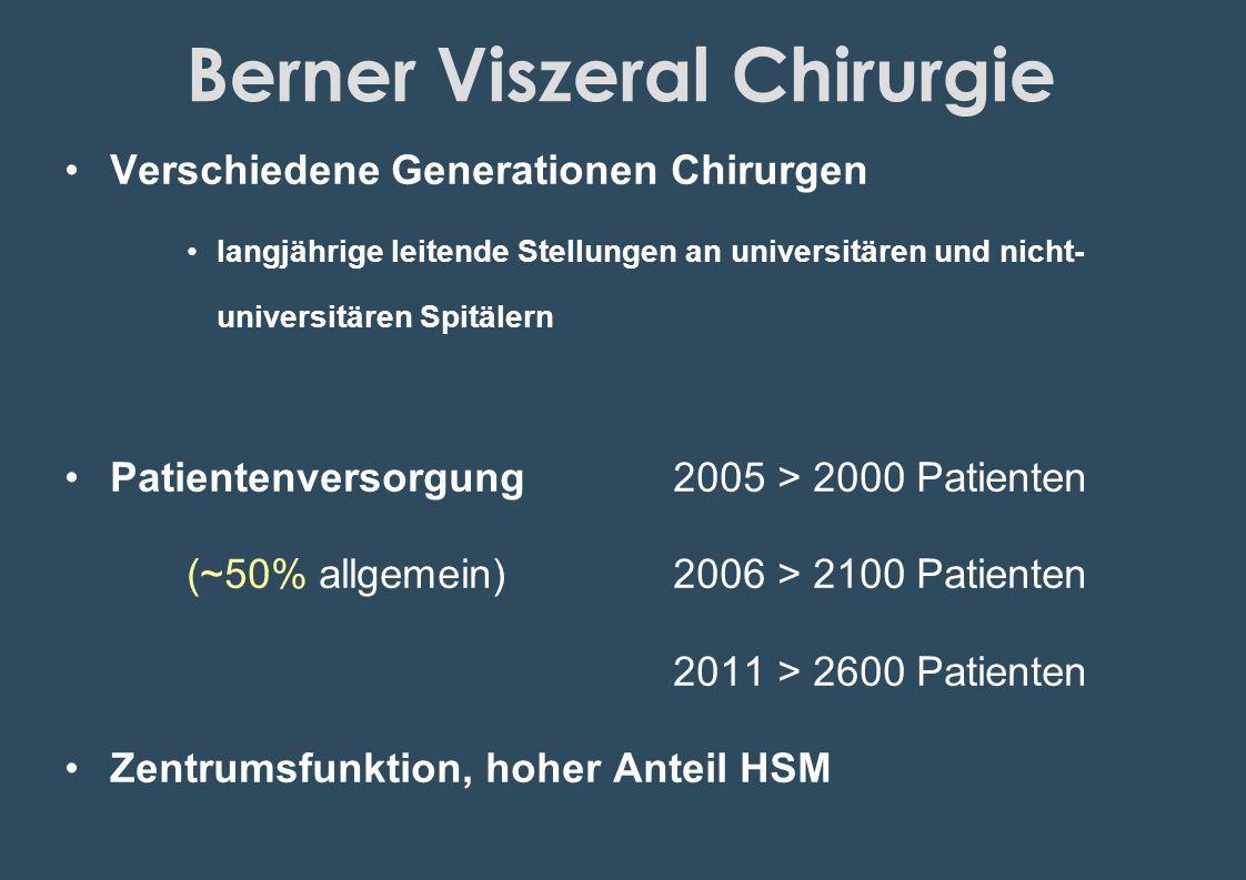 Berner Viszeral Chirurgie Verschiedene Generationen Chirurgen langjährige leitende Stellungen an universitären und nicht- universitären Spitälern Pati