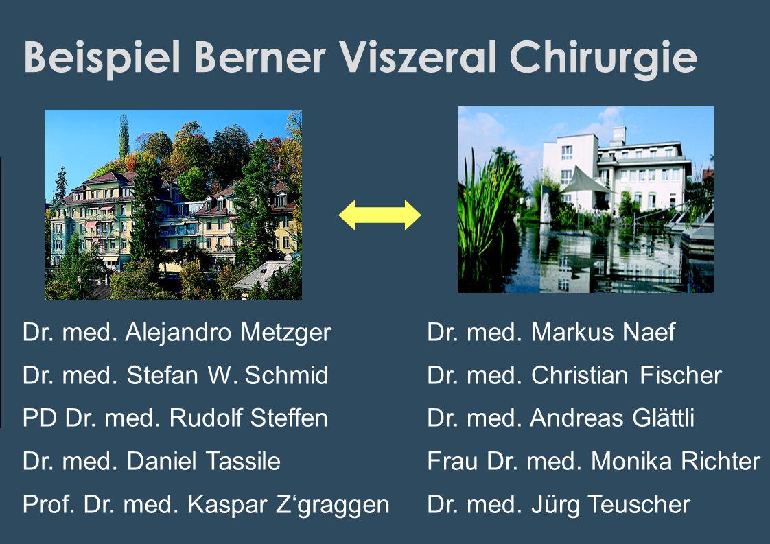 Beispiel Berner Viszeral Chirurgie Dr. med. Alejandro Metzger Dr. med. Stefan W. Schmid PD Dr. med. Rudolf Steffen Dr. med. Daniel Tassile Prof. Dr. m