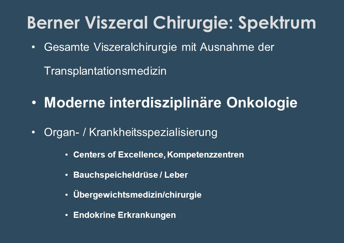 Berner Viszeral Chirurgie: Spektrum Gesamte Viszeralchirurgie mit Ausnahme der Transplantationsmedizin Moderne interdisziplinäre Onkologie Organ- / Kr