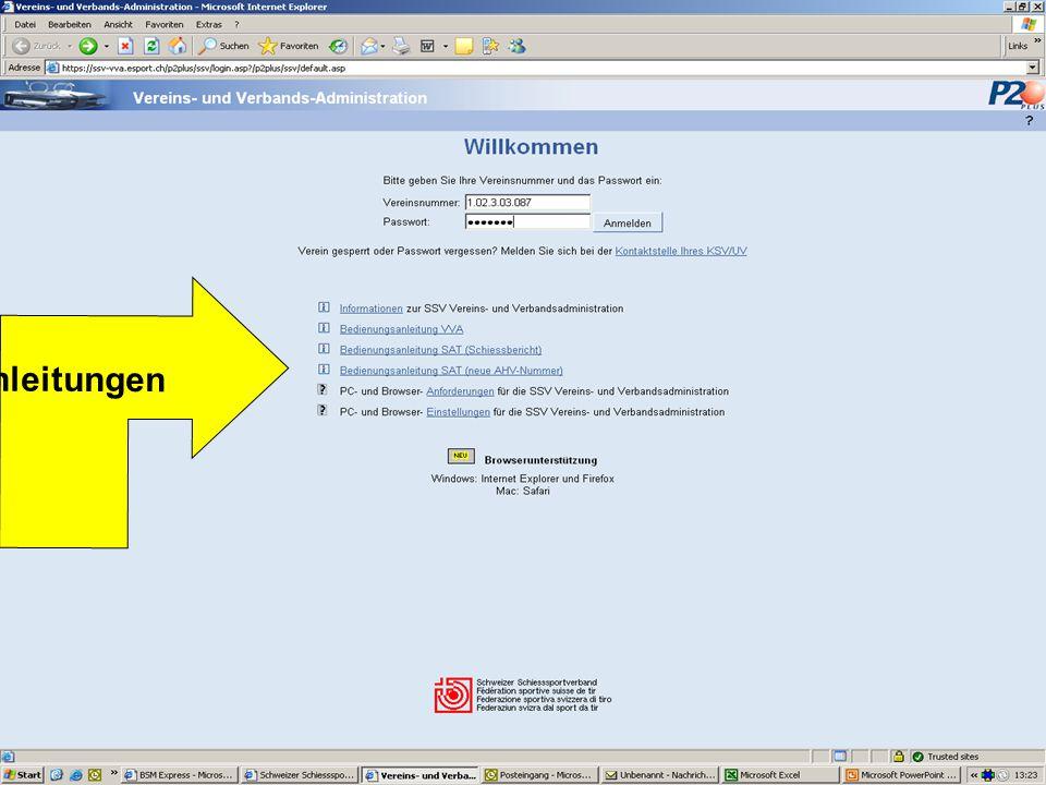 Vereinsnummer SSV + Lesepasswort des Vereins Die Erfassung als Mitglied des Vereins, ist nur mit dem Vollzugriff möglich.