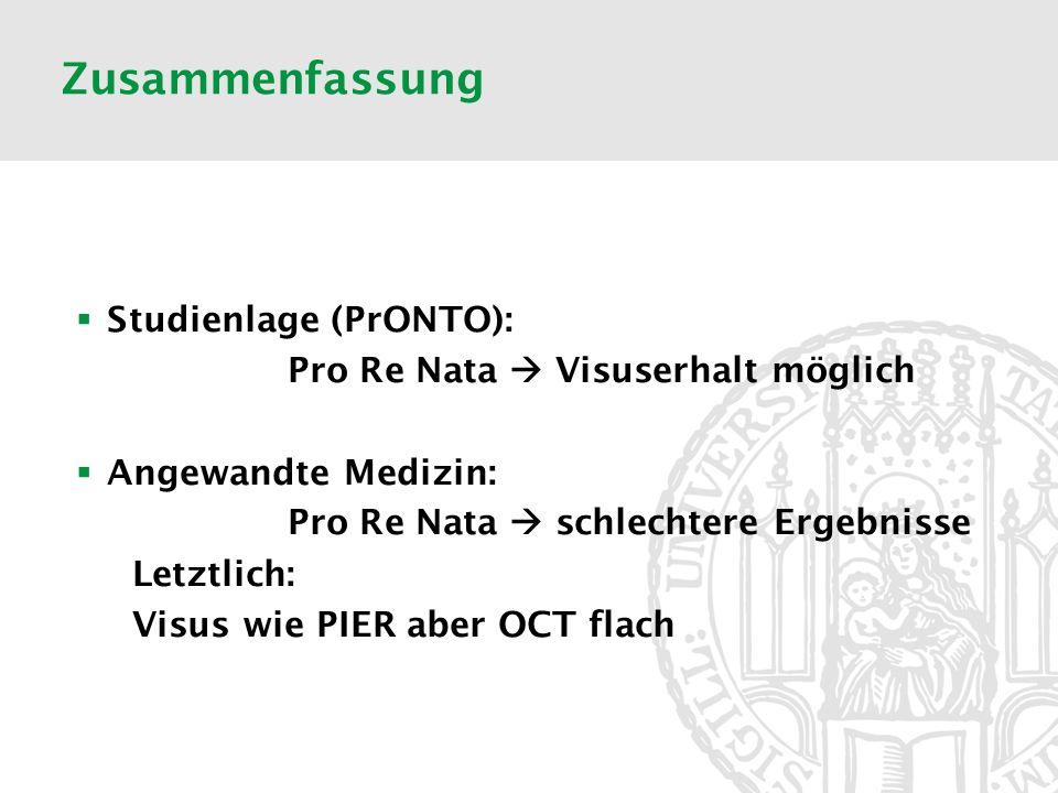 Zusammenfassung Studienlage (PrONTO): Pro Re Nata Visuserhalt möglich Angewandte Medizin: Pro Re Nata schlechtere Ergebnisse Letztlich: Visus wie PIER