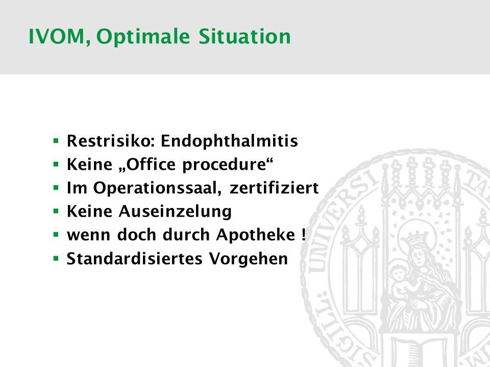 IVOM, Optimale Situation Restrisiko: Endophthalmitis Keine Office procedure Im Operationssaal, zertifiziert Keine Auseinzelung wenn doch durch Apothek