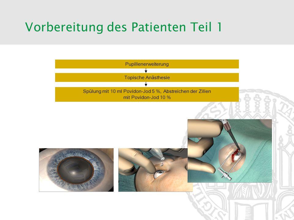 Pupillenerweiterung Topische Anästhesie Spülung mit 10 ml Povidon-Jod 5 %, Abstreichen der Zilien mit Povidon-Jod 10 % Vorbereitung des Patienten Teil