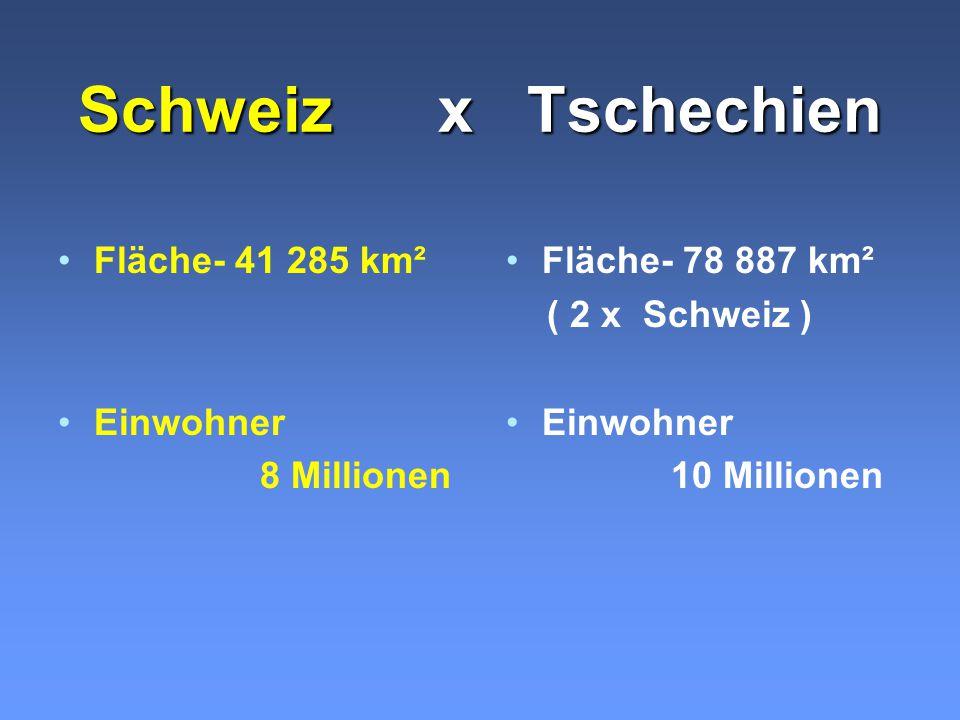 Schweiz x Tschechien Fläche- 41 285 km² Einwohner 8 Millionen Fläche- 78 887 km² ( 2 x Schweiz ) Einwohner 10 Millionen
