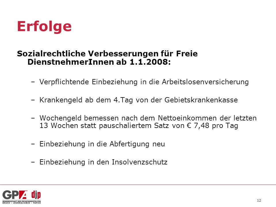 12 Erfolge Sozialrechtliche Verbesserungen für Freie DienstnehmerInnen ab 1.1.2008: –Verpflichtende Einbeziehung in die Arbeitslosenversicherung –Kran