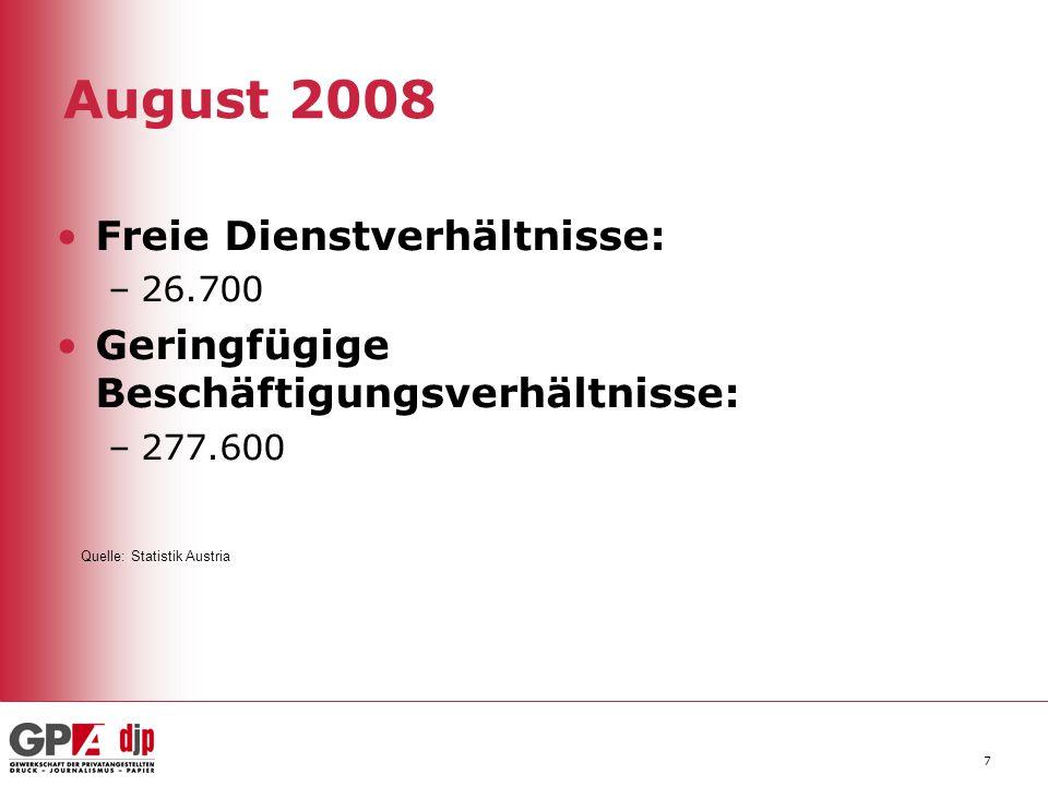 7 August 2008 Freie Dienstverhältnisse: –26.700 Geringfügige Beschäftigungsverhältnisse: –277.600 Quelle: Statistik Austria