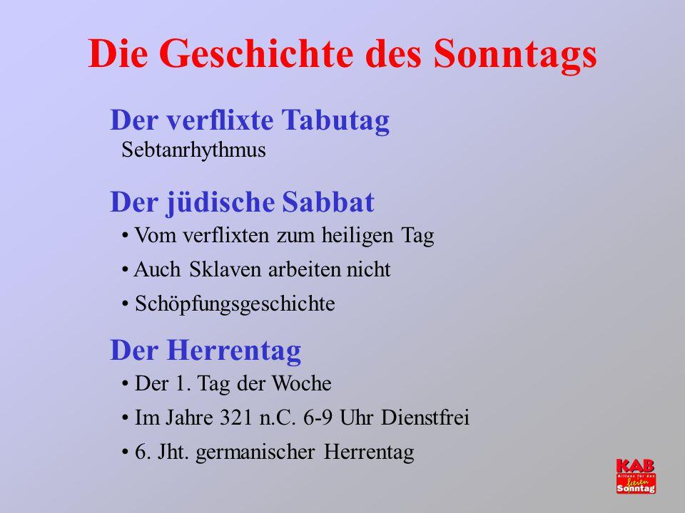 Die Geschichte des Sonntags Der verflixte Tabutag Der jüdische Sabbat Der Herrentag Sebtanrhythmus Vom verflixten zum heiligen Tag Auch Sklaven arbeit