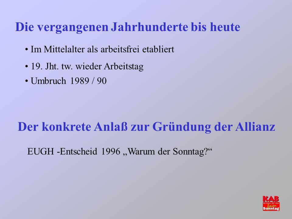 Die vergangenen Jahrhunderte bis heute Im Mittelalter als arbeitsfrei etabliert 19. Jht. tw. wieder Arbeitstag Umbruch 1989 / 90 Der konkrete Anlaß zu