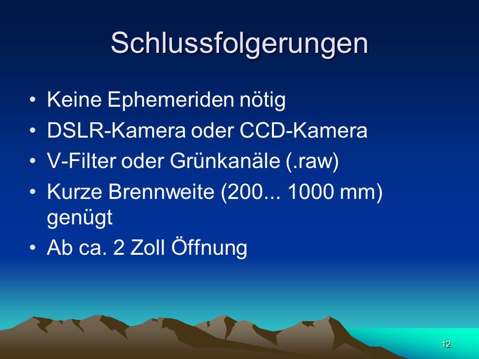 12 Schlussfolgerungen Keine Ephemeriden nötig DSLR-Kamera oder CCD-Kamera V-Filter oder Grünkanäle (.raw) Kurze Brennweite (200...
