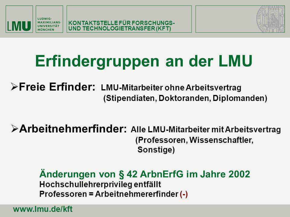 Freie Erfinder: LMU-Mitarbeiter ohne Arbeitsvertrag (Stipendiaten, Doktoranden, Diplomanden) Erfindergruppen an der LMU Arbeitnehmerfinder: Alle LMU-M