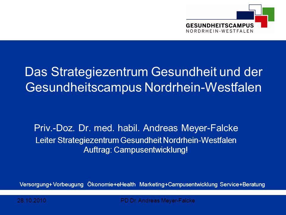 Versorgung+ Vorbeugung Ökonomie+eHealth Marketing+Campusentwicklung Service+Beratung Das Strategiezentrum Gesundheit und der Gesundheitscampus Nordrhe