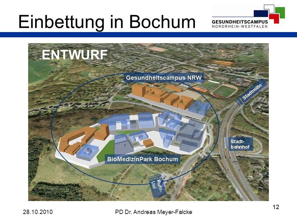 12 Einbettung in Bochum 28.10.2010PD Dr. Andreas Meyer-Falcke ENTWURF
