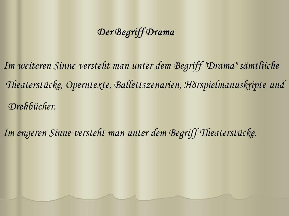 Der Begriff Drama Im weiteren Sinne versteht man unter dem Begriff Drama sämtliiche Theaterstücke, Operntexte, Ballettszenarien, Hörspielmanuskripte und Drehbücher.