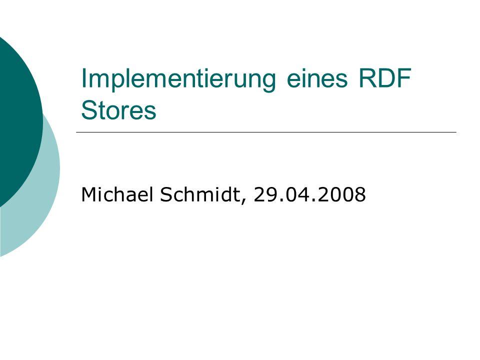 Implementierung eines RDF Stores Michael Schmidt, 29.04.2008
