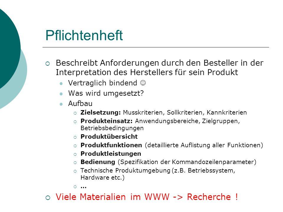 Pflichtenheft Beschreibt Anforderungen durch den Besteller in der Interpretation des Herstellers für sein Produkt Vertraglich bindend Was wird umgeset
