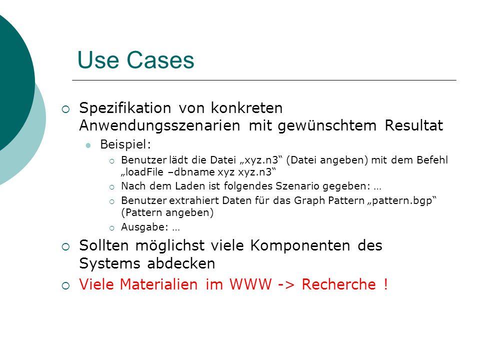 Use Cases Spezifikation von konkreten Anwendungsszenarien mit gewünschtem Resultat Beispiel: Benutzer lädt die Datei xyz.n3 (Datei angeben) mit dem Be