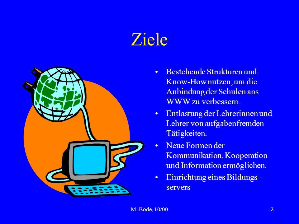 M. Bode, 10/002 Ziele Bestehende Strukturen und Know-How nutzen, um die Anbindung der Schulen ans WWW zu verbessern. Entlastung der Lehrerinnen und Le