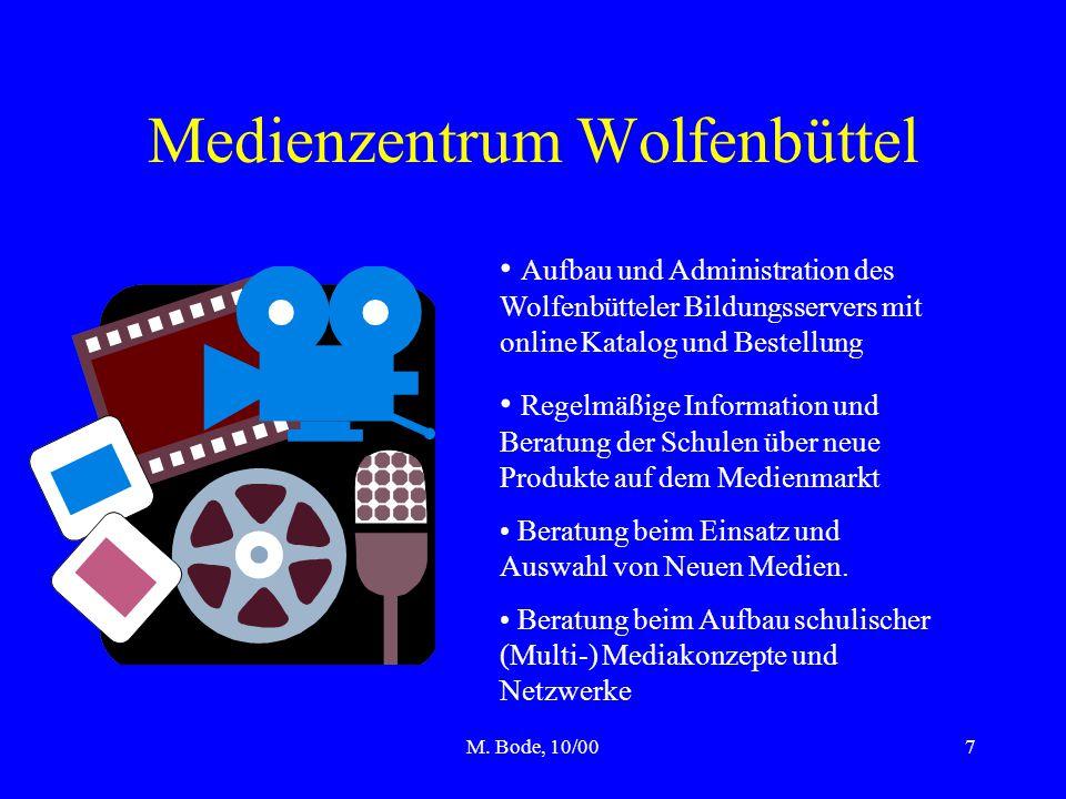 M. Bode, 10/007 Medienzentrum Wolfenbüttel Aufbau und Administration des Wolfenbütteler Bildungsservers mit online Katalog und Bestellung Regelmäßige
