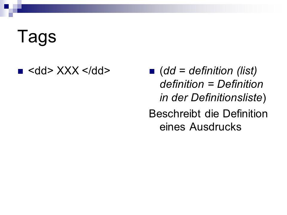 Tags XXX (dd = definition (list) definition = Definition in der Definitionsliste) Beschreibt die Definition eines Ausdrucks