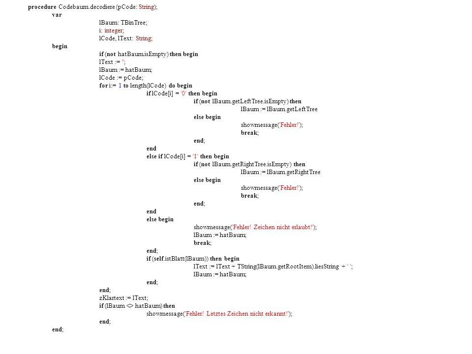 procedure Codebaum.decodiere (pCode: String); var lBaum: TBinTree; i: integer; lCode, lText: String; begin if (not hatBaum.isEmpty) then begin //Abfrage, ob der Baum leer ist, um einem Zugriffsfehler vorzubeugen lText := ; lBaum := hatBaum; lCode := pCode; for i:= 1 to length(lCode) do begin //Die Schleife wird so oft durchgeführt, wie Zeichen im Code sind, Index = 1 if lCode[i] = 0 then begin //Das erste Zeichen im Code ist 0, also wird dieser Programmcode gelesen if (not lBaum.getLeftTree.isEmpty) then //Abfrage, ob der linke Teilbaum leer ist lBaum := lBaum.getLeftTree //Der linke Teilbaum wird zum aktuellen Baum else begin showmessage( Fehler! ); break; end; end else if lCode[i] = 1 then begin //Wird nicht gelesen, da die erste Bedingung zutraf if (not lBaum.getRightTree.isEmpty) then lBaum := lBaum.getRightTree else begin showmessage( Fehler! ); break; end; end else begin //Wird nicht gelesen, da die erste Bedingung zutraf showmessage( Fehler.