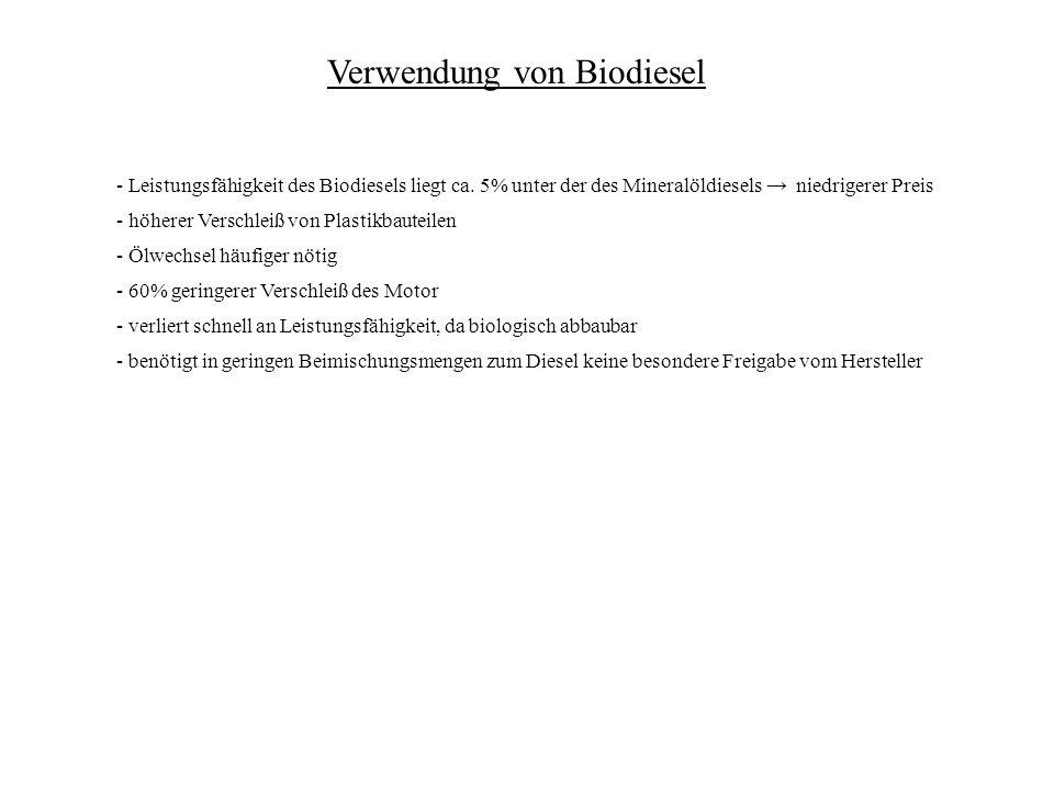 Verwendung von Biodiesel - Leistungsfähigkeit des Biodiesels liegt ca.