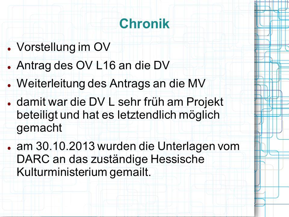 Chronik Vorstellung im OV Antrag des OV L16 an die DV Weiterleitung des Antrags an die MV damit war die DV L sehr früh am Projekt beteiligt und hat es
