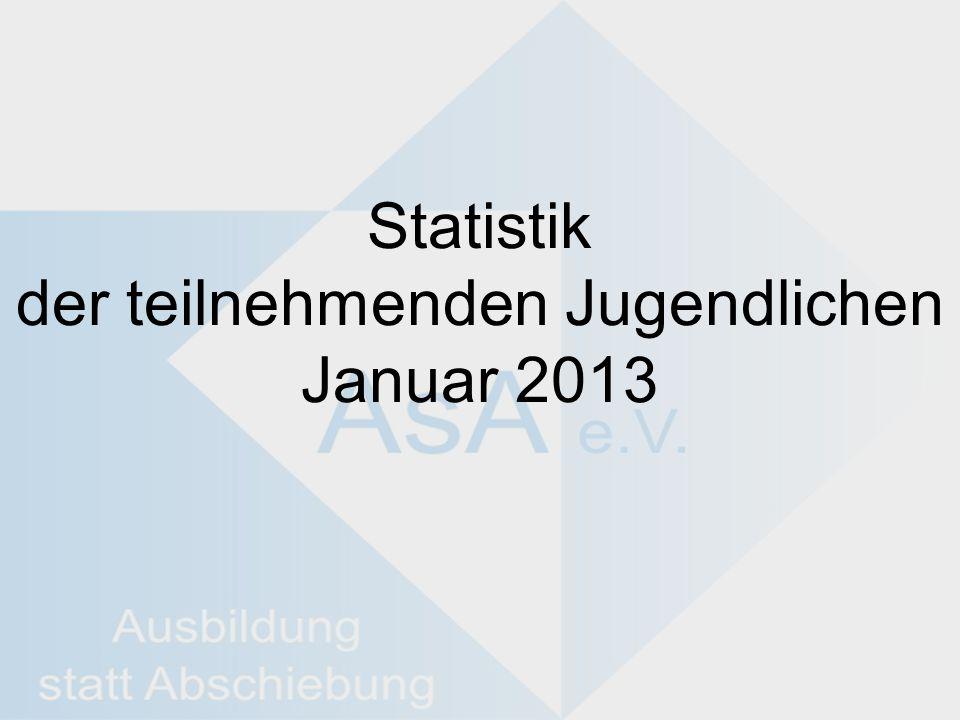 Statistik der teilnehmenden Jugendlichen Januar 2013