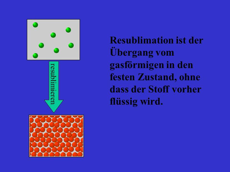 Resublimation ist der Übergang vom gasförmigen in den festen Zustand, ohne dass der Stoff vorher flüssig wird. resublimieren